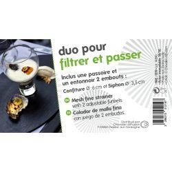 DUO pour FILTRER et PASSER (Entonnoir 2 embouts et Passoire) - inox 18/10 -filmé