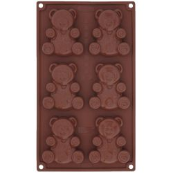 "MOULE PAVONIDEA OURSON ""TEDDY BEAR"" (6) silicone marron"