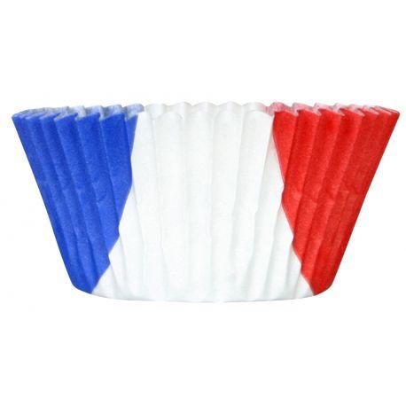 """MOULE A CUPCAKES """"COCORICO"""" bleu, blanc, rouge x45 7,5x3,5cm -filmé"""