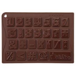 """MOULE CHIFFRES 26 CHOCOLATS """"CHOCO-ICE 123"""" silicone marron -boite"""