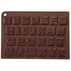 "MOULE ALPHABET 26 CHOCOLATS ""CHOCO-ICE ABC"" silicone marron -boite"