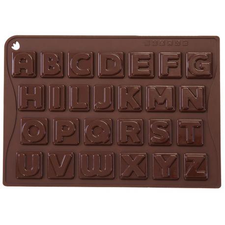 "MOULE 26 CHOCOLATS ""CHOCO-ICE ABC"" silicone marron -boite"